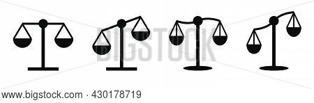 Compare Scale Set. Balance Symbol. Equality Icons. Weight Balance In Black. Court Symbol