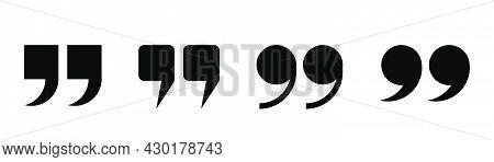 Quotation Mark Set. Comma Symbol In Black. Quote Symbol. Quotation Remark. Comma Sign.