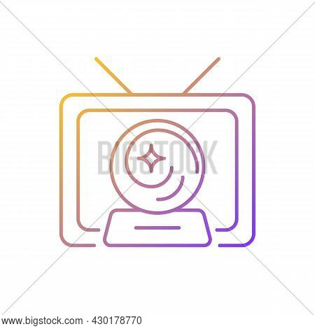 Mystic Show Gradient Linear Vector Icon. Mystery Series On Television Channel. Fun Tv Serial With Fa