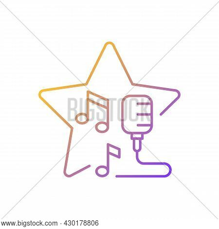 Open Microphone Shows Gradient Linear Vector Icon. Stand Up Comedy. Music Competition. Karaoke Night