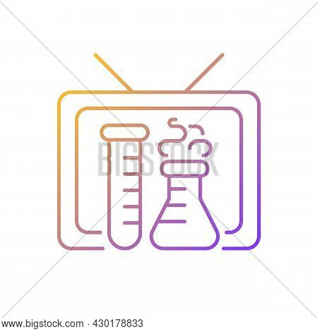 Scientific Show Gradient Linear Vector Icon. Educational Tv Series For Learning Science. Watching Ch