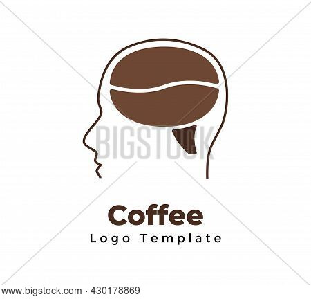 Vector Coffee Bean Logo Template. Abstract Human Head Sign. Creative Thinking. Modern Minimalistic S