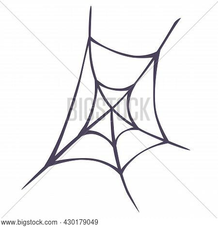 Spider Cobweb. Spiderweb Border Circle. Halloween Decor. Vector Illustration Of Spider Web On Light