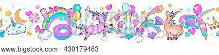 Seamless Pattern Border With Magic Unicorns Unicorn Dreams
