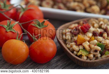 Wheat Kernel Natural Salad As Vegetarian Food
