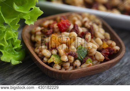Wheat Kernel Salad As Vegetarian Food Closeup