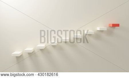 Black Stairs 3d On White Wall First Step Up To Next Red Success At Home Interior, Business Growth, A