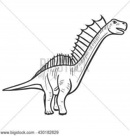 Dinosaur Sketch Hand Engraved. Vector Illustration Of An Extinct Prehistoric Animal.