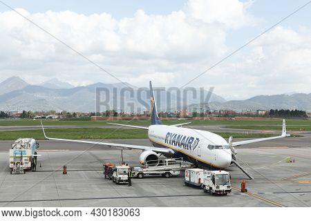 Bergamo, Italy - April 12, 2016: Ryanair Aircraft At Bergamo Airport In Italy. Ryanair Is An Irish L
