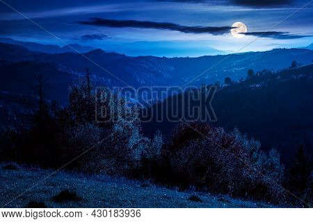 Countryside Rural Landscape In Autumn At Night. Trees In Colorful Foliage On Rolling Hills. Hazy Sce