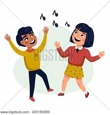 Dancing Kids, Cartoon Vector Illustration Of Happy Multicultural Children. Flat Style Vector Illustr