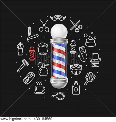Barbershop Concept With Realistic Detailed 3d Barber Pole And Thin Line Icons Set Include Of Razor,