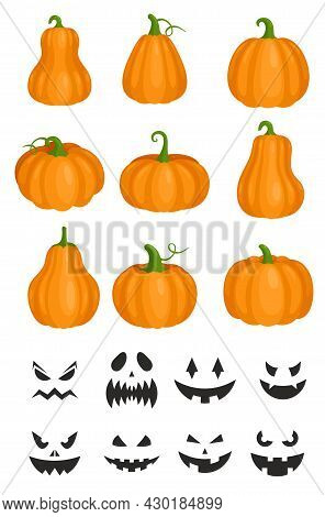 Cartoon Orange Pumpkin Jack Lantern, Angry Carved Black Faces For Autumn Helloween Party Isolated On