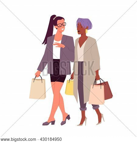 Fashion Stylish Girls With Shopping Bags, Young Happy Fashionable Friends Walking