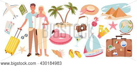 Cartoon Travelling Woman Man Characters On Holiday Journey With Travel Objects, Passenger Luggage, T