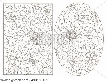 A Set Of Contour Illustrations In The Style Of Stained Glass With Flower Arrangements, Dark Contours