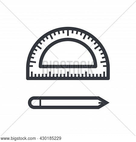 Black Outline Protractor And Pen. Education And Knowledge Vector Icon. Fully Editable Stroke Isolate