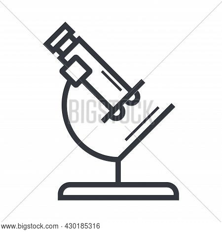 Black Outline Microscope. Science, Education And Knowledge Vector Icon. Fully Editable Stroke Isolat