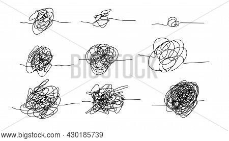 Ink Knot Line Elements. Messy Clew Symbols For Chaos And Simplifying Concept.