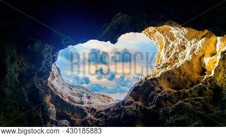 Heart Shaped Opening In Caves Of Algarve, Portugal, Europe View From Popular Boat Cave Tour Along Al