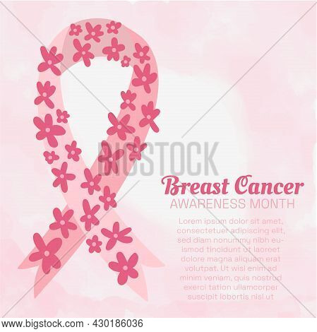 Breast Cancer Awareness Month Poster With Delicate Pink Watercolor Background, Pink Ribbon Decorated
