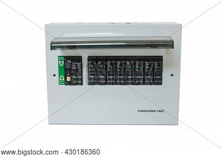 Consumer Unit With Automatic Fuses And Switchboard With Circuit Breakers. . Electrical Panel In Home