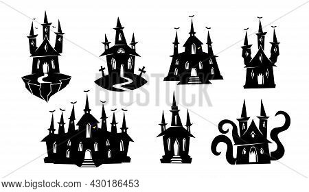 Silhouette Of Haunted House, Ghost Mansion, Castle. Black Silhouettes Of Halloween Creepy Mansions S
