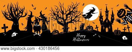 Halloween Vector Silhouette Banner With Witches, Cauldron, Haunted Castle And Jack O Lantern Ghost.