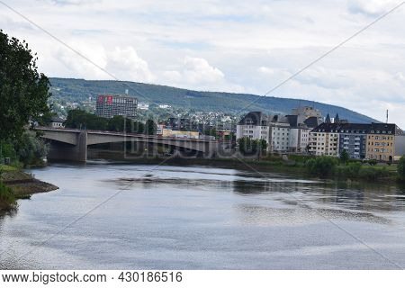Koblenz, Germany - August 10th 2021: Calm Mosel Between The Last River Lock And The Rhine, With Brid