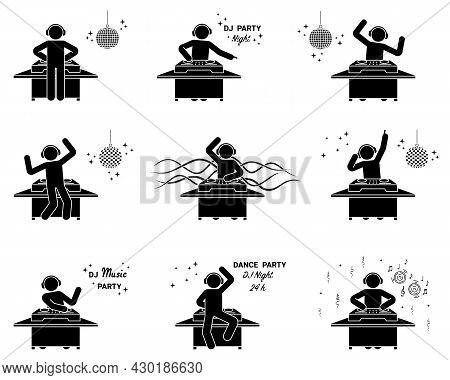 Stick Figure Dj Mixing At Nightclub Party Vector Icon Set. Stickman Male In Headphones Playing Dance