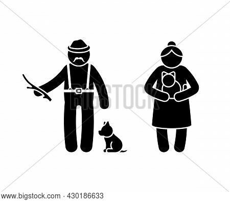 Grandparent Stick Figure Old Man And Woman Vector Illustration Set. Grandad Playing With Wooden Stic