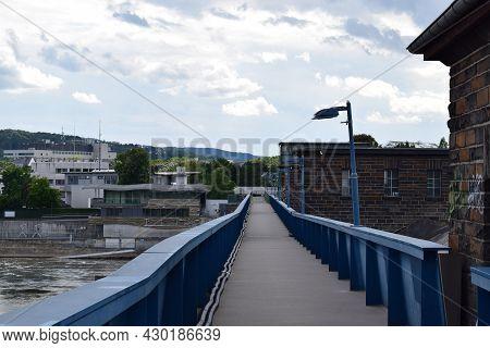 Koblenz, Germany - August 10th 2021: Way Across The River Lock In Koblenz