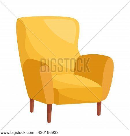 Stylish Yellow Armchair On White Background, Vector Illustration