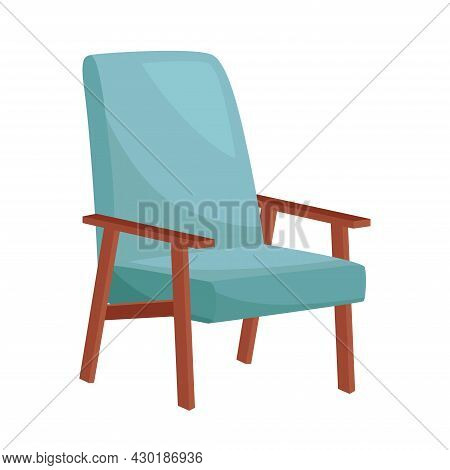 Comfortable Blue Armchair On White Background, Vector Illustration