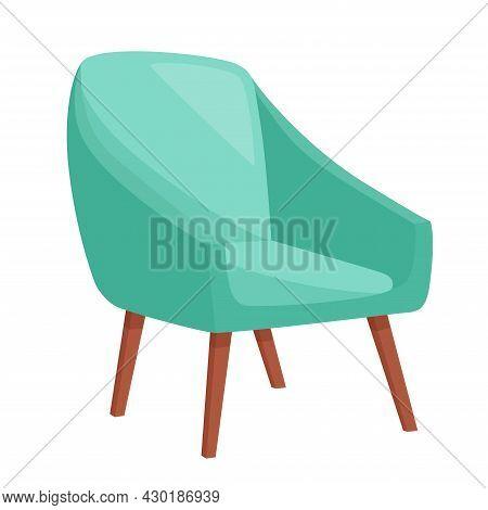 Stylish Comfortable Armchair On White Background, Vector Illustration