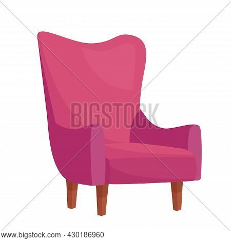Stylish Pink Armchair On White Background, Vector Illustration