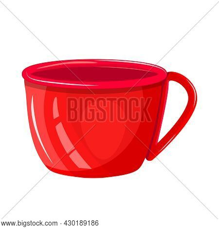 Red Cup Isolated On White Background. Empty Porcelain Or Glass Mug For Drinks Front View. Ceramic Co