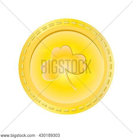 Gold Coin With Clover Isolated On White Background. Saint Patrick's Day Money. Leprechaun Luck Cash