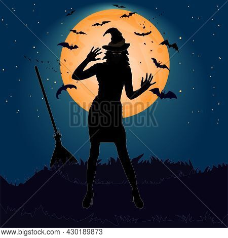 Halloween Witch On The Moon Background. Beautiful Witch Girl Silhouette In Night. Sexy Woman Witch W
