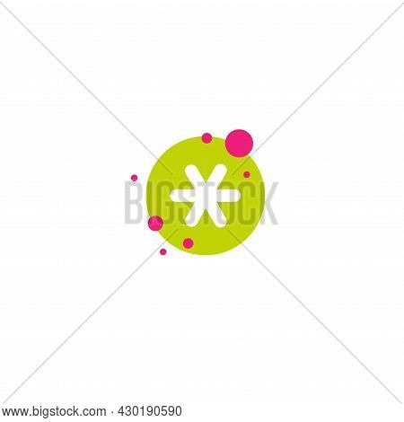 White Asterisk Footnote In Green Circle With Bubbles. Asterisk Sign. Flat Icon Of Asterisk Isolated