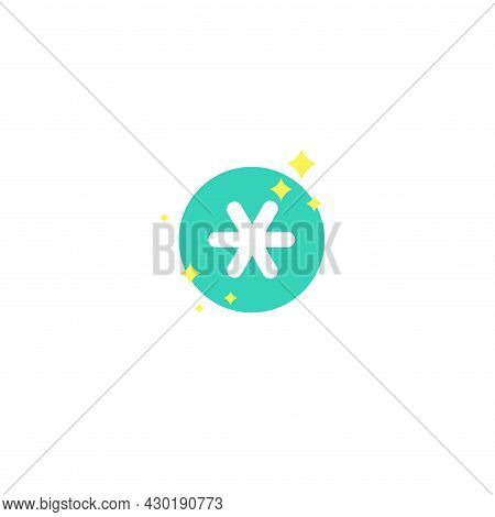 White Asterisk Footnote In Blue Circle With Stars Or Sparks. Asterisk Sign. Flat Icon Of Asterisk Is