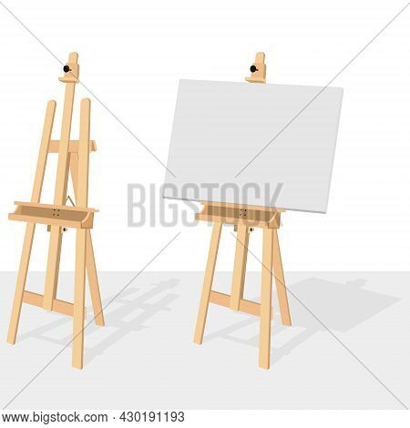 Vector Design Of Wooden Easel For Painting And Drawing, Wooden Tripod With Box For From Painter To P