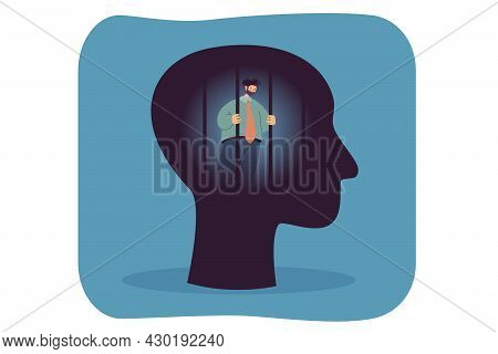 Prison Of Mind Flat Vector Illustration. Abstract Human Head, Struggling Businessman Imprisoned Insi