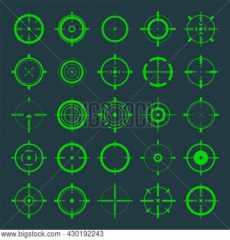 Crosshair, Gun Sight Vector Icons. Bullseye, Green Target Or Aim Symbol. Military Rifle Scope, Shoot