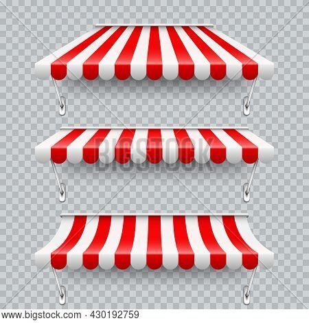 Shop Sunshade With Metal Mount. Realistic Red Striped Cafe Awning. Outdoor Market Tent. Roof Canopy.