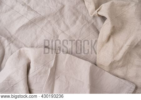 Kitchen Towel Or Napkin Over The Rustic Table. View From Above With Copy Space, Natural Color Backgr