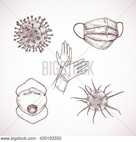 Hand Drawn Corona Virus Vector Illustration Set. Bacteria, Protective Gloves And Respirator Masks Do