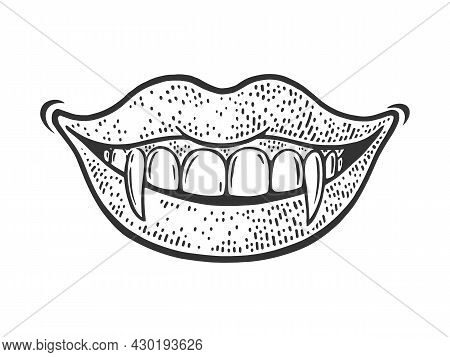 Vampire Girl Smile Sketch Engraving Vector Illustration. T-shirt Apparel Print Design. Scratch Board