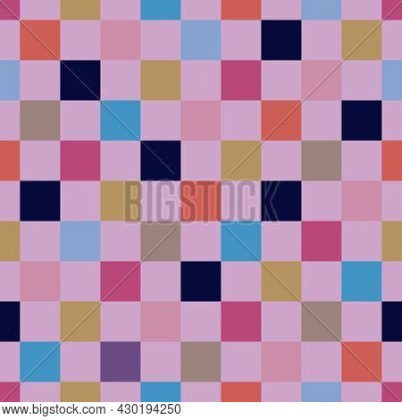 Seamless Pattern Of Colored Checkerboard Squares For Prints On Fabrics, Clothing, Packaging, Ceramic