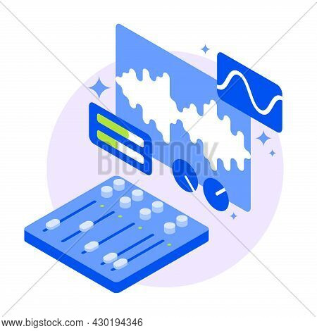 Sound Production Equipment Isometric Vector Illustration. Audio Recording Mixing Panel Control Board